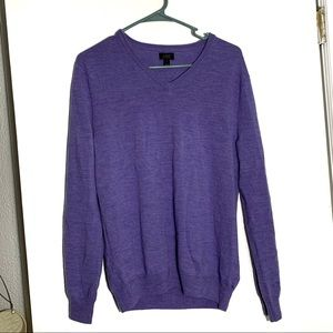 J. crew purple merino wool v neck sweater.